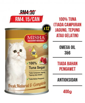 MISHA Majestic Premium Wet Canned Cat Food Tuna 400g x 12 Tins