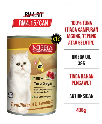 Bulu2 Initiative : MISHA Majestic Premium Wet Canned Cat Food Tuna 400g x 12 Tins