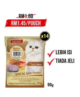 Feeder Rohani Anie : MISHA Wet Cat Food Mackerel Salmon (Pouch) 90G x 14 Pouches
