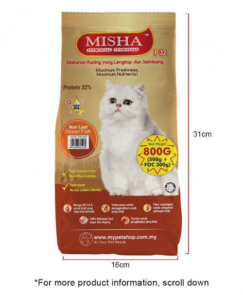 Sollu Shelter : MISHA Dry Cat Food Ocean Fish 800G x 4 Packs