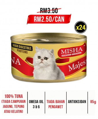Meow Island : MISHA Majestic Premium Wet Canned Cat Food Tuna 85g x 24 Tins