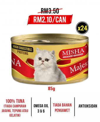 Feeder Felin-Kanal : MISHA Majestic Premium Wet Canned Cat Food Tuna 85g x 24 Tins