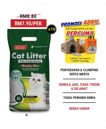 Promosi April : MISHA Cat Litter 5L x 10 Packs (2 bundles)