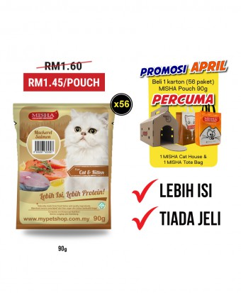 Promosi April : MISHA Wet Cat Food Mackerel Salmon (Pouch) 90G x 56 Pouches