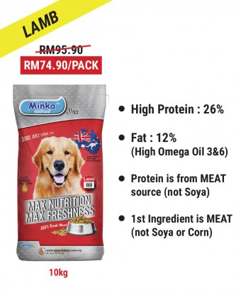 Diana Pak Din : Minka Dry Dog Food Lamb 10KG