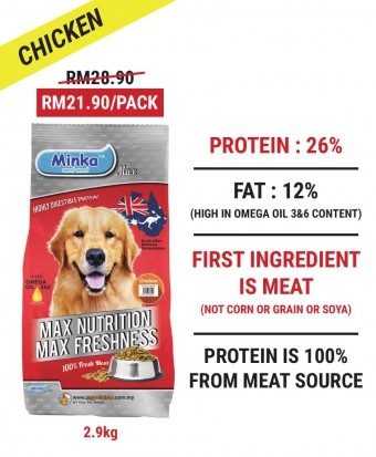 MDDB : Minka Dry Dog Food Chicken 2.9KG