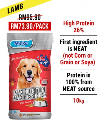 Minka Dry Dog Food Lamb 10KG