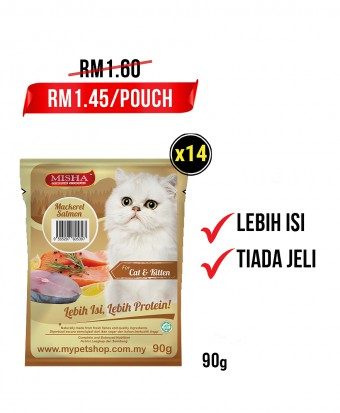 Puan Mila : MISHA Wet Cat Food Mackerel Salmon (Pouch) 90G x 14 Pouches
