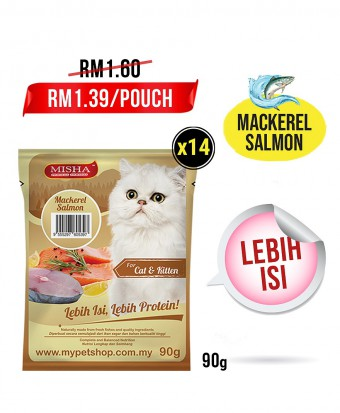 AMANAH : MISHA Wet Cat Food Mackerel Salmon (Pouch) 90G x 14 Pouches