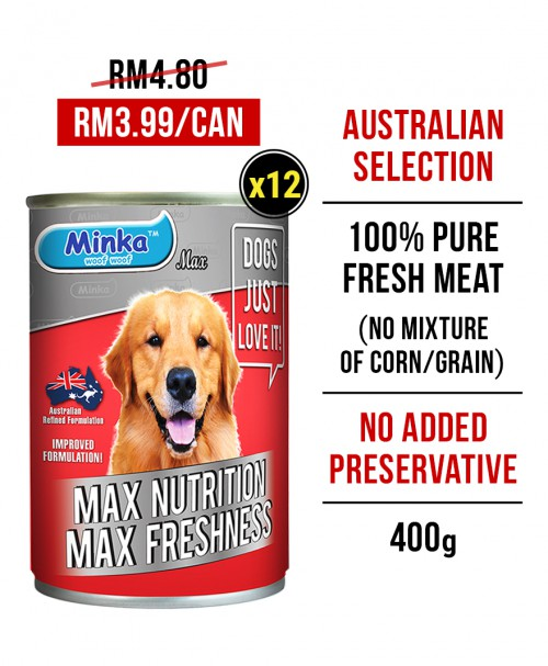 Minka Wet Canned Dog Food 400G x 12 Tins