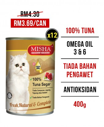 Chung Hua School : MISHA Majestic Premium Wet Canned Cat Food Tuna 400g x 12 Tins