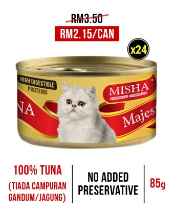 Chung Hua School : MISHA Majestic Premium Wet Canned Cat Food Tuna 85g x 24 Tins